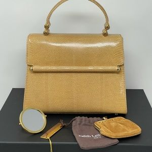 Judith Leiber Karung Snakeskin Tophandle Bag Tan Beige Gold Pristine